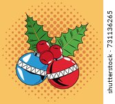 decorative balls christmas pop... | Shutterstock .eps vector #731136265