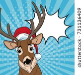 reindeer with santa hat and... | Shutterstock .eps vector #731136409