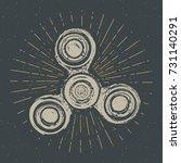 spinner vintage label  hand...   Shutterstock .eps vector #731140291