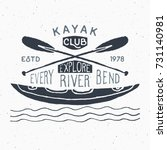 kayak and canoe vintage label ... | Shutterstock .eps vector #731140981