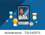 honored doctor in the frame... | Shutterstock .eps vector #731142571