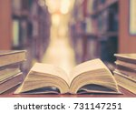 old book in library with open... | Shutterstock . vector #731147251