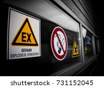 industrial loading bay with... | Shutterstock . vector #731152045