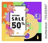 autumn sale memphis style web...   Shutterstock .eps vector #731152507