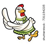 cartoon female hen dancing...