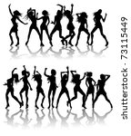 Silhouettes of sexy beautiful women dancing with silhouettes - stock vector
