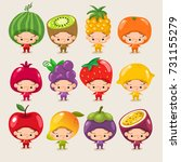 set of boy and girl wearing... | Shutterstock .eps vector #731155279