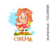 vector illustration of cute... | Shutterstock .eps vector #731158585