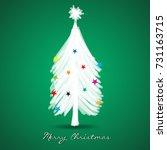 christmas tree greeting card... | Shutterstock .eps vector #731163715