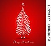 christmas tree greeting card... | Shutterstock .eps vector #731163745