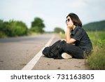 young asian woman short hair... | Shutterstock . vector #731163805