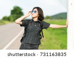 young asian woman short hair... | Shutterstock . vector #731163835