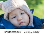 cute toddler in padded jacket... | Shutterstock . vector #731176339