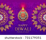 happy diwali festival card with ... | Shutterstock .eps vector #731179351