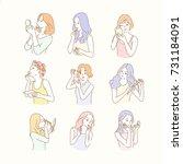 beautiful make up ladies bust... | Shutterstock .eps vector #731184091
