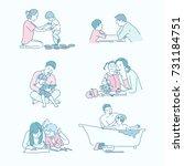 educational ties between... | Shutterstock .eps vector #731184751