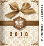 happy new year 2018 greeting... | Shutterstock .eps vector #731185651