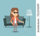 caucasian blind woman standing... | Shutterstock .eps vector #731191099