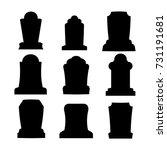 tombstone silhouette set for...   Shutterstock .eps vector #731191681