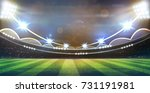 lights at night and football... | Shutterstock . vector #731191981