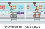 robotic arm putting groceries... | Shutterstock .eps vector #731193631