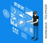 virtual reality man with... | Shutterstock .eps vector #731194105