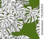 monstera pattern by hand... | Shutterstock .eps vector #731196319