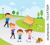 family walking in the park | Shutterstock .eps vector #731197009