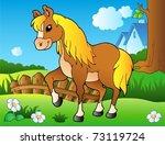 cartoon horse on spring meadow  ... | Shutterstock .eps vector #73119724