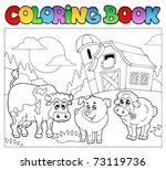 coloring book with farm animals ... | Shutterstock .eps vector #73119736