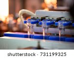 Stock photo pet preform in pet bottles blow molding machine in factory technology in plastic bottles machine 731199325