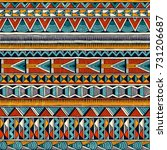 Tribal seamless ornament in vibrant colours. Abstract background in african style. Hand drawn vector illustration EPS10.