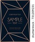Stock vector geometric rose gold design template modern design for wedding invitation greeting card 731209231