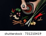 the art of thai cuisine   thai... | Shutterstock . vector #731210419