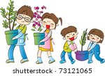happy gardening with family | Shutterstock .eps vector #73121065