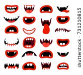 cute monsters mouth set. red... | Shutterstock .eps vector #731210815