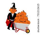 wheelbarrow halloween. bunch of ... | Shutterstock .eps vector #731212615