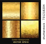 set of golden backgrounds... | Shutterstock .eps vector #731218204