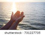human hands open palm up... | Shutterstock . vector #731227735