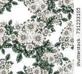 vector seamless flower pattern... | Shutterstock .eps vector #731233105
