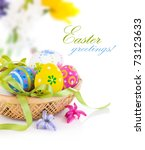 Easter Eggs In Basket With Bow...