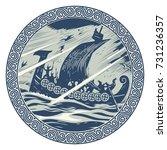 viking design. drakkar sailing... | Shutterstock .eps vector #731236357