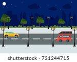 landscape night city street   Shutterstock .eps vector #731244715