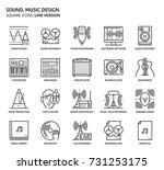 sound design  square icon set.... | Shutterstock .eps vector #731253175