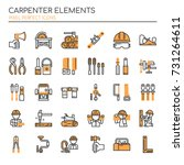 carpenter elements   thin line... | Shutterstock .eps vector #731264611