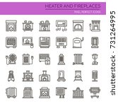 heater and fireplaces   thin... | Shutterstock .eps vector #731264995