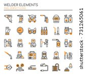 welder elements   thin line and ... | Shutterstock .eps vector #731265061