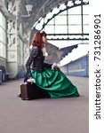 girl at the train station   Shutterstock . vector #731286901