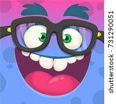 cartoon monster face. wearing... | Shutterstock .eps vector #731290051