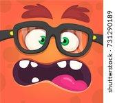 cartoon angry monster face.... | Shutterstock .eps vector #731290189